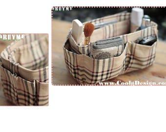 Purse ORGANIZER insert / Bag Organizer / Extra Sturdy / Khaki Plaid / Large 25x10cm