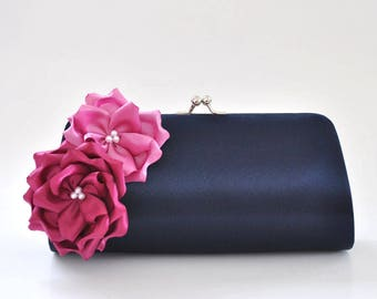 Midnight Blue and Shades of Orchids Bridesmaid clutch / Bridal Clutch / Wedding clutch / Prom clutch / Custom clutch