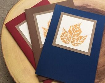Leaf print cards, set of three
