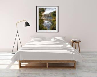 Digital download, printable art, digital art, home decor, living room, dining room, lake, trees, sunrise, fog