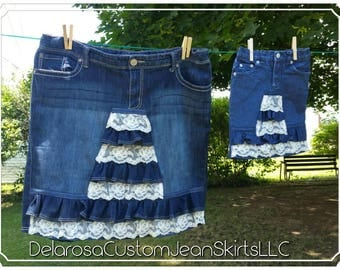 DELAROSA Mommy and Me Aspyn vintage lace ruffle denim skirt made to your size Big girl sizes 7 to 16