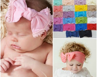 Baby headbands, girls headbands, Baby Headband, Newborn headbands,Baby Nylon Headband, nylon headbands,Nylon Top Knot Bow Headwrap head wrap