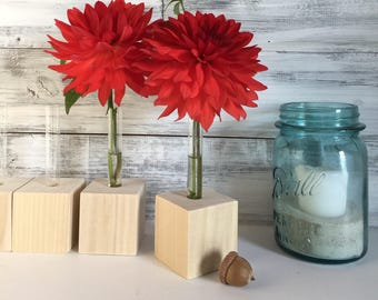 Test Tube Bud Vases, DIY, do it yourself, flower test tube vases, small vases, unfinished wood, party favors. A SET Of TWO, or more