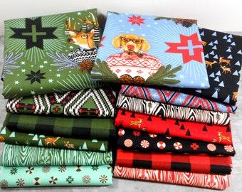 Rustic Christmas Fabric, Deer Fabric Bundle, Woodland Baby Quilt Fabric, Tula Pink, Holiday Homies, Holiday Fabric, ONE YARD Fabric BUNDLE