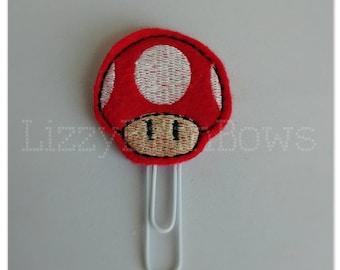 Planner clip, bookmark, planner feltie clip, felt bookmark, mushroom feltie clip, big mushroom, Mario inspired clip