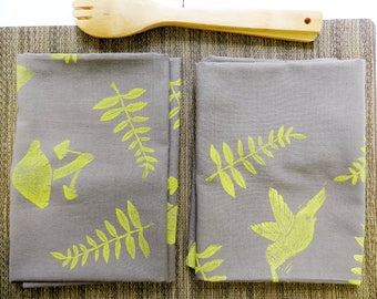 Gray Extra Large Flour Sack Dishcloth. Hummingbird or Mushroom Botanical Print. Housewarming Gift. Kitchen Towels. Boho Home. Plants.