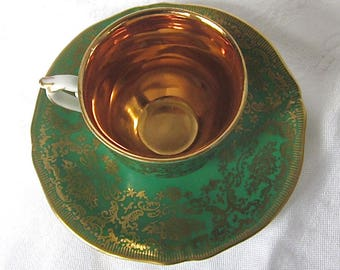 Green, Demitasse Cup, Antique, Royal Czechoslovakia, EPIAG, Burgundy, Gold, Cup and Saucer, Royal Czechoslovakia, EPIAG, 1930s