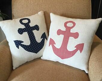 Nautical Pillows, Anchor Pillow, Red Nautical Pillows, Blue Nautical Pillow, Nautical Nursery Decor, Nautical Decor, Nautical Decorations