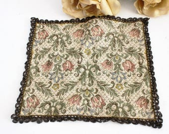 Vintage Edwardian 1920s Doily / Table Topper Flowers And Leaves / Petit Point / Needlework / Crewel /  Gothic Home Decor Textile