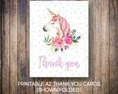 Unicorn Thank You Cards, Watercolor Thank You Notes, Birthday Thank You, Watercolor Flowers, Pink, Digital Download, Printable Cards, 603