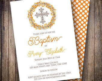 Fall Wreath Baptism Invitation, Gender Neutral, Autumn Baptism, Boy, Girl, Printable Invite, Brown, Orange, 760