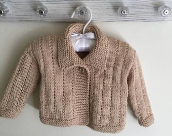 Tan Organic Cotton Cardigan Sweater