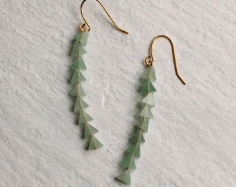 Green Triangle Fishbone Earrings ... Seafoam Turquoise Gemstone Triangle