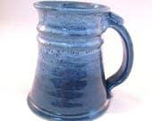 Large Stein - Blue Tankard - Coffee Mug - Handmade Pottery - 20 oz - Beer Mug - Pottersong - Denim Jeans Blue - Frosted Blue