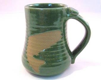 Coffee Mug - Trout - Fish Mug - Handmade Pottery - Pottersong - Brown - Wild Animal - Fish Silhouette - Bright Green - Fisherman Gift