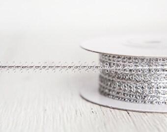 Silver Trim - Vintage Style Metallic Braid Picot Ribbon, 25 Yds