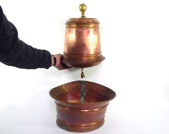French Antique Copper Water Container 'Lavabo' with Basin Gorgeous and Rare ...and 'So French'