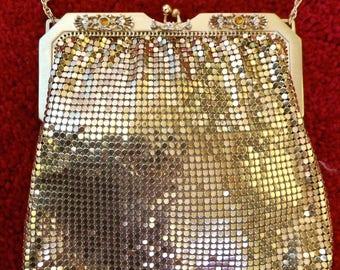Wedding attire,Whiting and Davis, Bridal, Evening purse, Gold mesh, Formal, Wedding, handbag,Bride,Bride maid