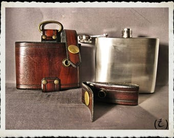 Brown leather flask holster