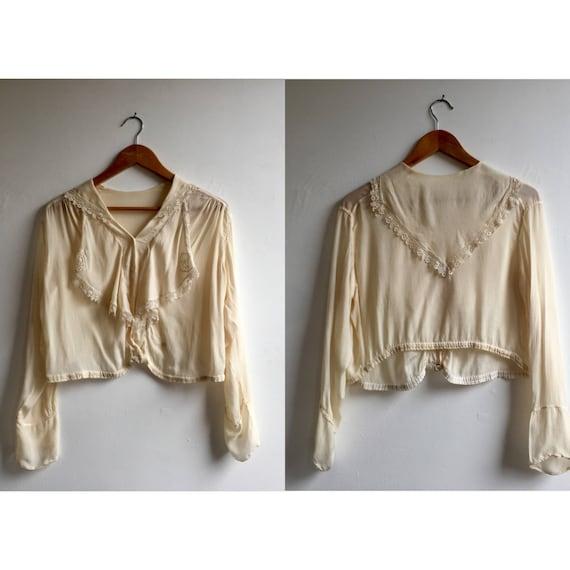 Ivory Silk Armatice Midi Blouse