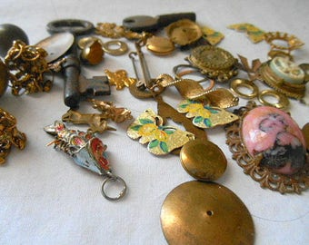 Vintage brass jewelry and supply Lot