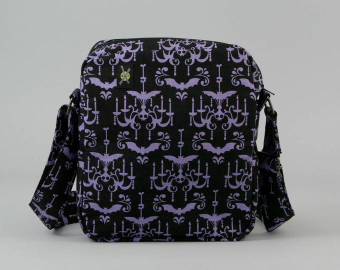 Purple and Black Small Crossbody Bag, Haunted Mansion Style Chandelier, Bats, Zipper Closure, Punk Rock, Goth, Fabric Crossbody with Pockets