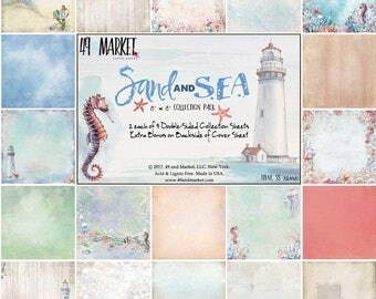 """49 and Market, Sand and Sea collection, 8"""" x 8"""", Scrapbooking, Card Making,  Mixed Media, Mini Album,"""