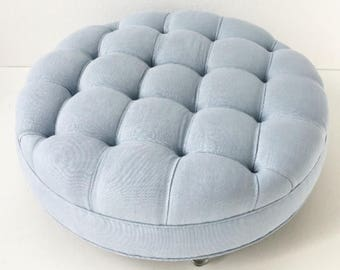 Custom Round Biscuit-Tufted Ottoman- COM