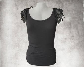 Black tank top/Lace sleeveless tee/bow tie shoulder