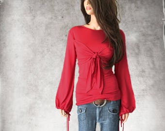 Tie front adjustable top/Cinch sleeve blouson /Cascade scrunch sleeve