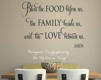 20% OFF Bless the food before us -faith-Vinyl Lettering wall words graphics Home decor itswritteninvinyl