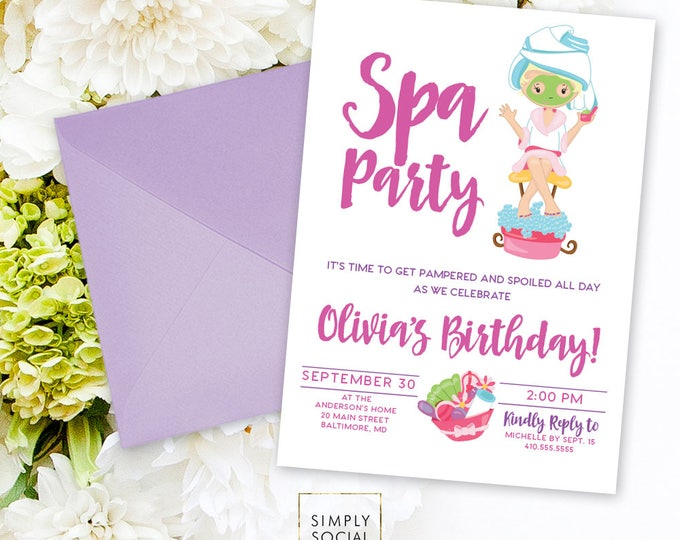 Kid's Spa Birthday Party Invitation - Spa Party Invite Nails and Toes Facials Manicure Pedicure Purple Pink Printable Invitation