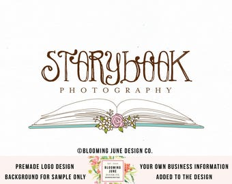 book logo author logo storybook logo photography logo photographers logo boutique logo book shop logo premade logo children's logo watermark