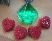 """Needle-Felted and Beaded Heart Pin """"Here's My Heart"""""""
