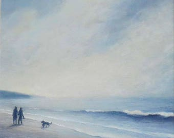 Original painting walking the dog on the beach at the waters edge summer evening