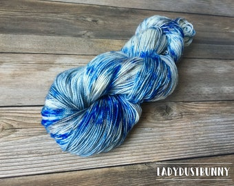 Hand Dyed Sock Yarn / Hand Dyed Yarn / Hand Dyed Yarn Sock / Game of Thrones Winter is Coming / Blue Hand Dyed Yarn / Speckled Yarn