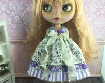 Blythe Vintage Lace Dress - Purple Stripe and Floral