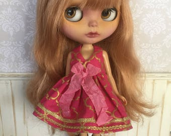 Blythe Dress - Hot Pink and Gold