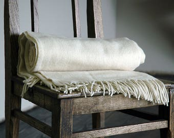 Merino  Blanket throw , Beige throw with fringes. Merino  blanket, Merino  wool throw