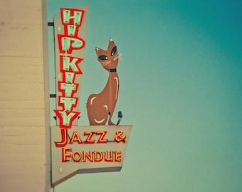 Hip Kitty Jazz and Fondue Club | Mid Century Modern Art | Neon Sign Art | Red and Teal Decor | Retro Wall Art | Kitty Cat | Googie Fine Art