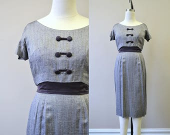 1950s Navy Herringbone and Satin Wiggle Dress
