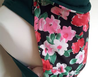 MEI TAI Baby Carrier / Sling / Reversible / Flower Fiesta with Green in straight cut model / Handmade / Cotton / Made in UK