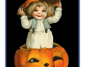 GREAT SALE Digital DOWNLOAD Child in a Pumpkin Hat Vintage Halloween Counted Cross Stitch Chart / Pattern