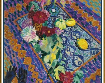 GREAT SALE Colorful Still Life with Gloves  by Modern Artist Robert Delaunay Counted Cross Stitch Chart Graph Pattern