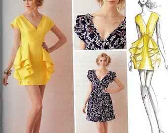 Simplicity 1877 / 0278 Peplum Dress Leanne Marshall Summer V Neck Evening Sewing Pattern Size 12, 14, 16, 18, 20