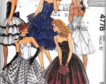 McCall's 4778 Vintage Formal Evening Dress Strapless Sewing Pattern UNCUT Size 10