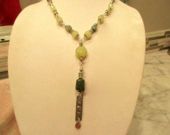 Vintage Carved Genuine JADE, JADEITE, CELEDON Including Dark, Raw Jade & Sterling Rosary Chain Necklace w/Carved Pendants and Sacred Spiral
