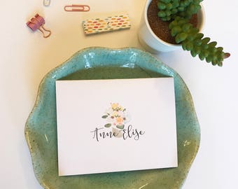 custom stationary for brides // hand drawn custom folded cards // personalized  // custom thank you notes // wedding thank you notes