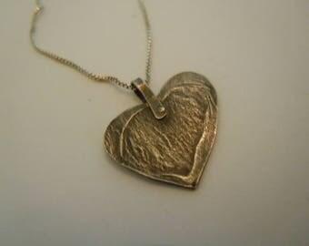 Heart Pendant Sterling Silver Rivet Handwork