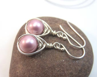 Powder Rose Swarovski pearl earrings argentium sterling silver wire wrapped pink pearl earrings glass pearl earrings wire wrapped earrings